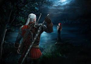 Hintergrundbilder The Witcher 3: Wild Hunt Geralt von Rivia Krieger Schwert Nacht