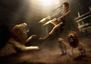Photo Tomb Raider Anniversary Pistols Lion Lara Croft Jump Firing Games Girls