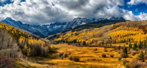 Wallpaper USA Mountain Forests Grasslands Autumn Landscape photography Clouds San Miguel Colorado Nature