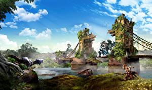 Pictures United Kingdom Bridge Rivers Warriors Horizon Zero Dawn London Tower Bridge vdeo game Fantasy
