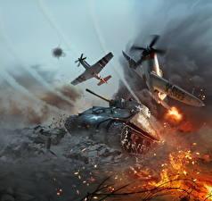Papel de Parede Desktop War Thunder Tanque Aviãos M4 Sherman Americanos