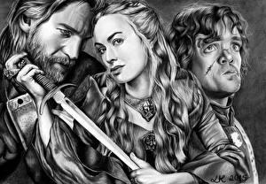 Hintergrundbilder Krieger Game of Thrones Peter Dinklage Schwarzweiss Drei 3 Queen Cercei, Tyrion, Jamie Lannister Prominente