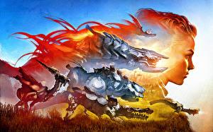 Images Warriors Horizon Zero Dawn Robots vdeo game Fantasy