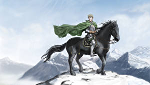 Wallpaper Warriors Horse Men Cape Snow