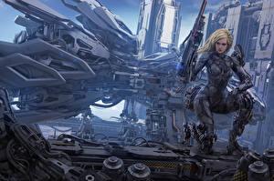 Bakgrunnsbilder Krigere Bokillustrasjoner Kyborg Blonde Michael Cooper, An Aeon 14 Novel, The Intrepid Saga Fantasy Unge_kvinner
