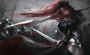 Images Warriors Swords Hair Blood Redhead girl Fantasy Girls