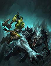 Hintergrundbilder WoW Goblin Monsters Schlägerei Streitaxt Sprung Grinsen Worgen Spiele Fantasy