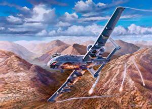 Bilder Flugzeuge Gezeichnet Schlachtflugzeug Flug Amerikanische Fairchild Republic A-10 Thunderbolt II