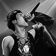 Wallpaper Asiatic Microphone Black and white Teenage guy Min Yoongi