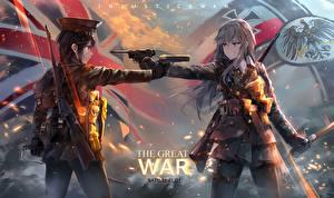 Bilder Battlefield 1 Pistole Zwei Spiele Anime Mädchens