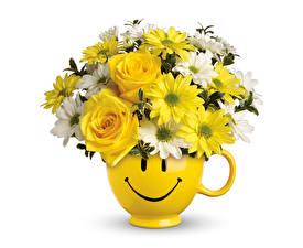 Fonds d'écran Bouquet Roses Chrysanthèmes Smilies Fond blanc Vase fleur