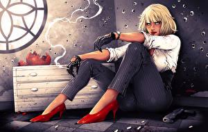 Hintergrundbilder Charlize Theron Blondine Zigarette Sitzend Stöckelschuh Atomic Blonde Fantasy Mädchens