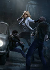 Pictures Charlize Theron Man Fight Blonde girl Fan ART Atomic Blonde (2017) film