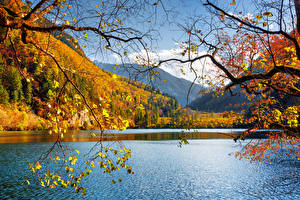 Images China Jiuzhaigou park Parks Lake Autumn Landscape photography Branches Nature