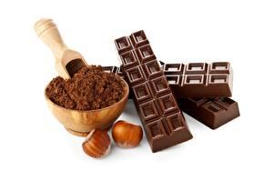 Bakgrunnsbilder Sjokolade Nøtter Sjokoladeplate Kakaopulver Hvit bakgrunn