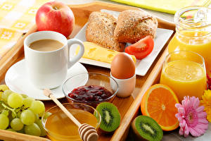 Images Coffee Grapes Apples Juice Bread Fruit Breakfast Cup Egg Tray Food