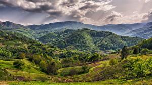 Fotos Acker Wälder Serbien Hügel Wolke Bajina Bauta Zlatibor Natur
