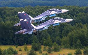 Fondos de escritorio Avións Avión de caza Sukhoi Su-30 Rusos Dos SM Aviación