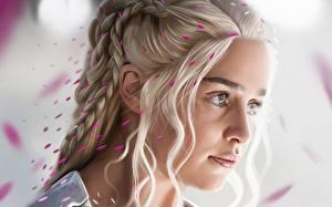 Fotos Game of Thrones Daenerys Targaryen Emilia Clarke Blond Mädchen Gesicht Zopf Prominente Mädchens
