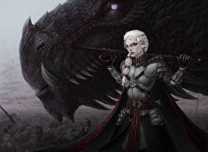 Bureaubladachtergronden Game of Thrones Draken Krijger Fan ART Een harnas Valar Morghulis, War of the Five Kings Films