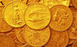 Bakgrundsbilder på skrivbordet Guld Ett mynt Pengar Närbild Amerikansk Twenty Dollars