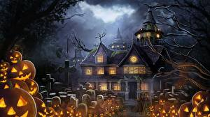 Fotos Feiertage Friedhof Haus Kürbisse Halloween Fantasy