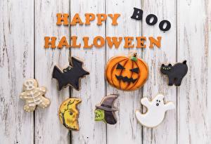 Papéis de parede Halloween (2007) Feriados Bolacha Tábuas de madeira Inglês Palavra Happy Boo Halloween