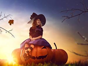 Wallpaper Halloween Pumpkin Evening Witch Little girls Hat Sit Laughter child