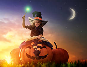 Photo Holidays Halloween Pumpkin Witch Little girls Night time Moon Smile Book child