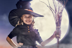 Photo Holidays Halloween Witch Little girls Smile Hat Moon child
