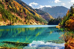 Bilder Jiuzhaigou park China Herbst Park See Gebirge Wälder Landschaftsfotografie