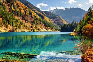 Sfondi desktop Valle del Jiuzhaigou Cina Autunno Parco Lago Montagna Foreste Paesaggio Natura