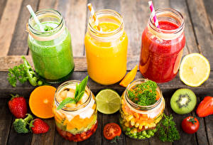 Pictures Strawberry Tomatoes Fruit Vegetables Smoothy Highball glass Jar Food