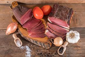 Fotos Fleischwaren Schinken Zwiebel Knoblauch Tomate Salz