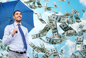 Picture Men Money Dollars Smile Umbrella Necktie