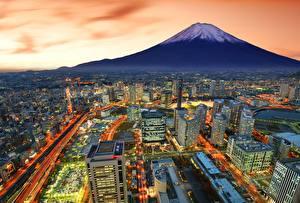 壁纸、、富士山、住宅、夕、日本、火山、Yokohama、都市