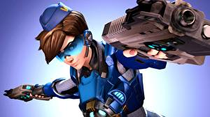 Pictures Overwatch Pistols Eyeglasses Tracer Games Girls 3D_Graphics