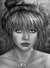 Hintergrundbilder Gezeichnet Schwarz weiß Haar Blick Kopf junge frau