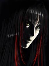 Fotos Gezeichnet Gesicht Schwarzer Hintergrund Haar Starren junge Frauen
