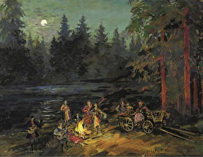 Pictures Pictorial art Bonfire Night time Constantin Korovin, Gypsies by the River, Yaroslavl Gubernia Province