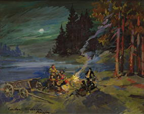 Images Pictorial art Bonfire Night time Constantin Korovin, The Campfire