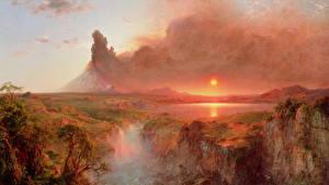 Bilder Malerei Wasserfall Sonnenaufgänge und Sonnenuntergänge Landschaftsfotografie Vulkan Frederic Edwin Church, Cotopaxi