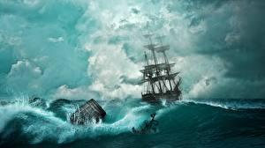 Images Pirates Ship Sailing Barrel Fantasy