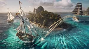 Wallpaper Pirates Ships Sailing Skull and Bones Island Firing Games