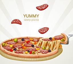 Fotos Pizza Wurst Stücke yummy tasty pizza das Essen