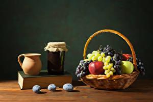 Pictures Varenye Apples Grapes Plums Wicker basket Pitcher Jar Book Food