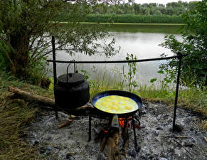 Images River Kettle Bonfire Fried egg Food Nature