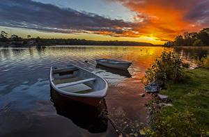 Fotos Flusse Sonnenaufgänge und Sonnenuntergänge Boot Landschaftsfotografie Himmel