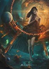 Bilder Stern Planeten Supernatural Wesen Andromeda Fantasy Mädchens