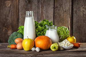 Pictures Still-life Milk Apples Quark curd cottage farmer cheese Vegetables Boards Bottles Pitcher Egg Food